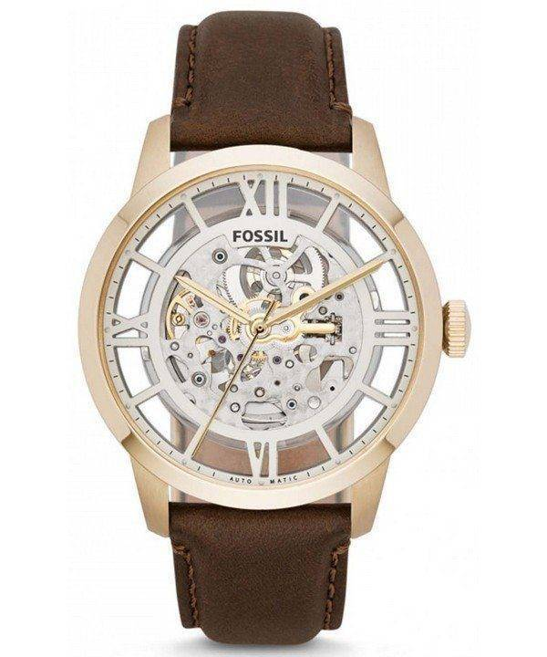Fossil Townsman Automatic Skeleton Dial Brown Leather ME3043 Mens Watch