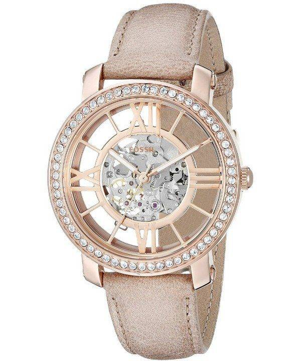 Fossil Curiosity Automatic Skeleton Crystals Dial Beige Leather ME3060 Womens Watch
