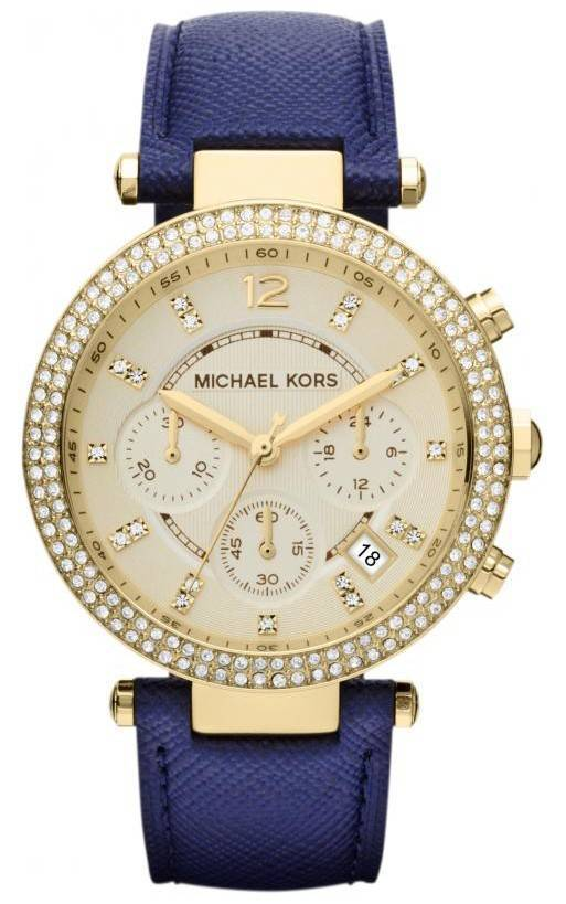 Michael Kors Chronograph Parker Navy Leather Strap MK2280 Womens Watch