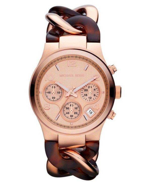 Michael Kors Runway Tortoise Twist Chain Link MK4269 Womens Watch
