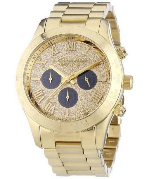 Michael Kors Layton Glitz Gold Tone Crystal Dial MK5830 Womens Watch