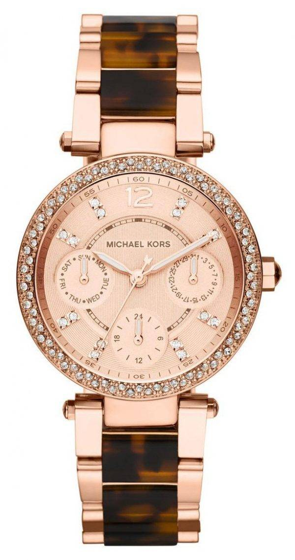 Michael Kors Rose Gold Tortoise-shell Crystals MK5841 Womens Watch