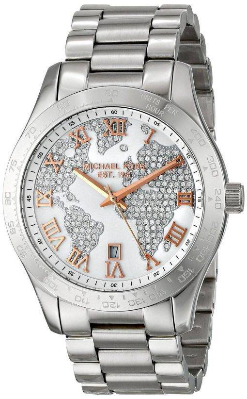 Michael Kors Layton Engraved Map Crystal Pave Dial MK5958 Womens Watch