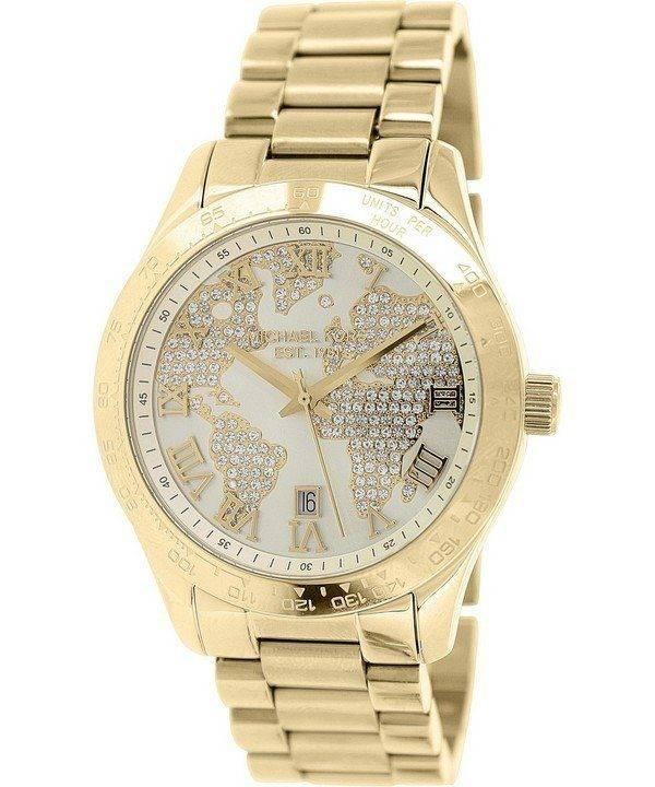 Michael Kors Layton Engraved Map Crystal Pave Dial MK5959 Womens Watch