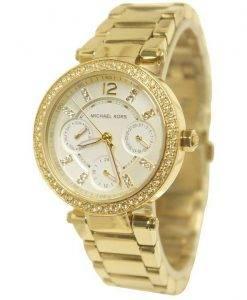 Michael Kors Mini Parker Champagne Glitz Dial Crystals MK6056 Womens Watch