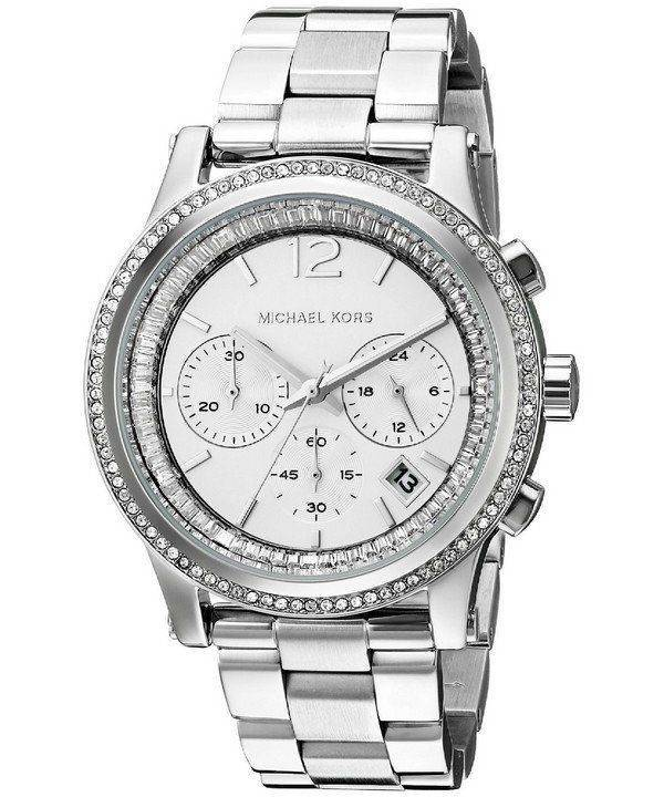 Michael Kors Heidi Chronograph Crystal Silver Dial MK6062 Womens Watch