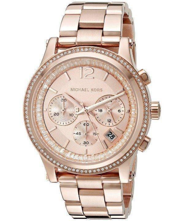 Michael Kors Heidi Chronograph Rose Crystal Dial MK6064 Womens Watch