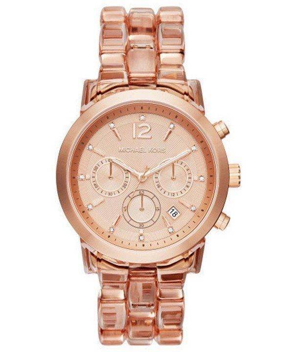 Michael Kors Audrina Chronograph Rose Dial MK6203 Womens Watch