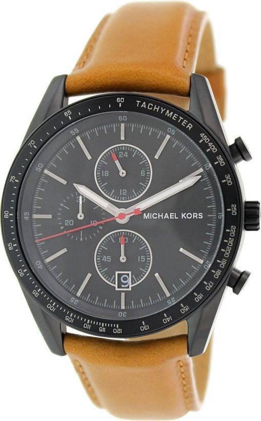 Michael Kors Accelerator Chronograph Tan Leather Strap MK8385 Mens Watch