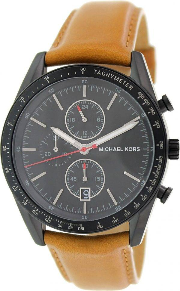 Michael Kors Accelerator Chronograph Tan Leather Strap MK8385 Mens Watch