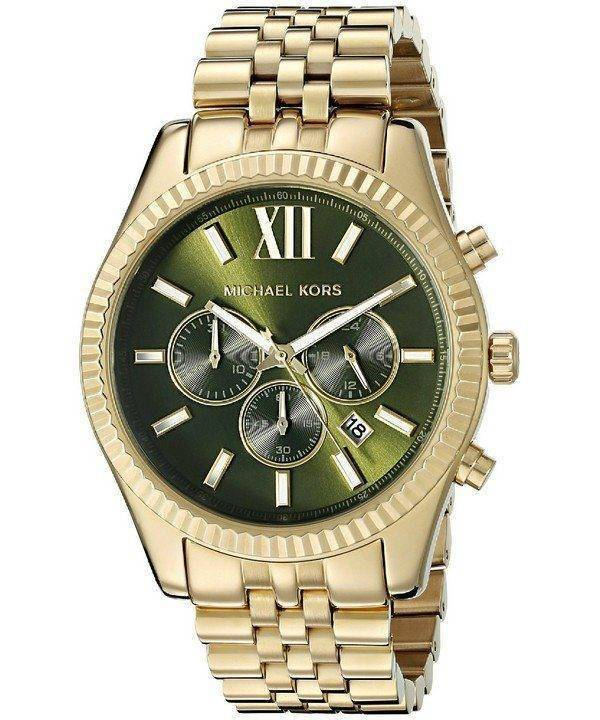 Michael Kors Lexington Chronograph Green Dial MK8446 Mens Watch