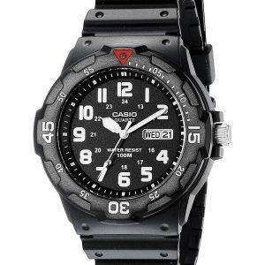 Casio Quartz Analog 100M Black Resin Strap MRW-200H-1BVDF MRW-200H-1BV Mens Watch