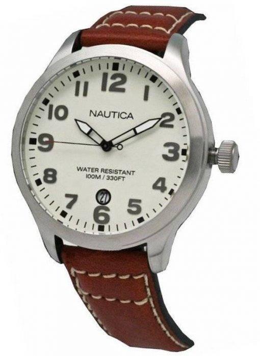 N09560G Nautica masculin BFD 101 Date Watch cadran crème
