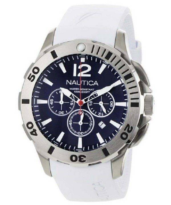 Nautica Chronograph White Resin and Blue Dial N16568G Mens Watch