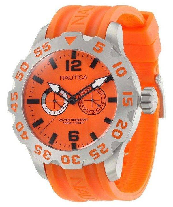Nautica BFD 100 Orange Dial N16606G Mens Watch
