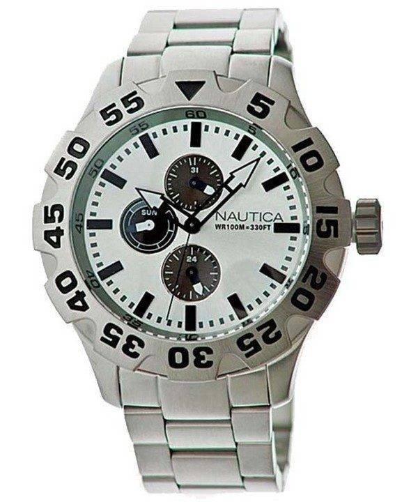 Nautica multifonctions cadran argenté N20094G montre homme