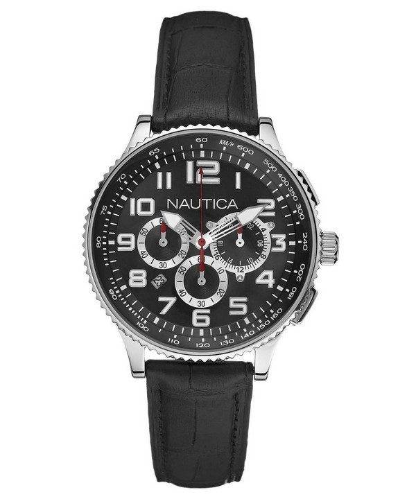 Nautica chronographe en cuir noir N22596M