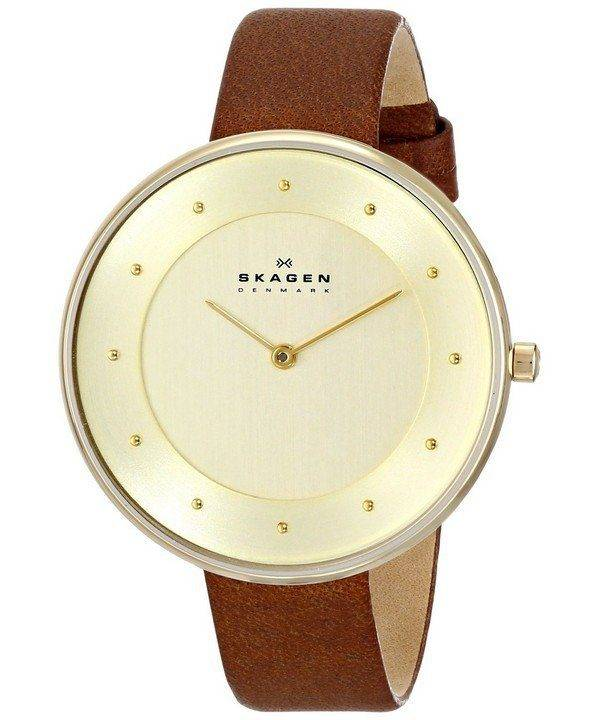 Skagen Gitte Champagne Dial Brown Leather Strap SKW2138 Womens Watch