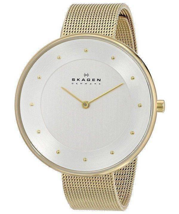 Skagen Silver Dial Gold-Tone Mesh Bracelet SKW2141 Womens Watch