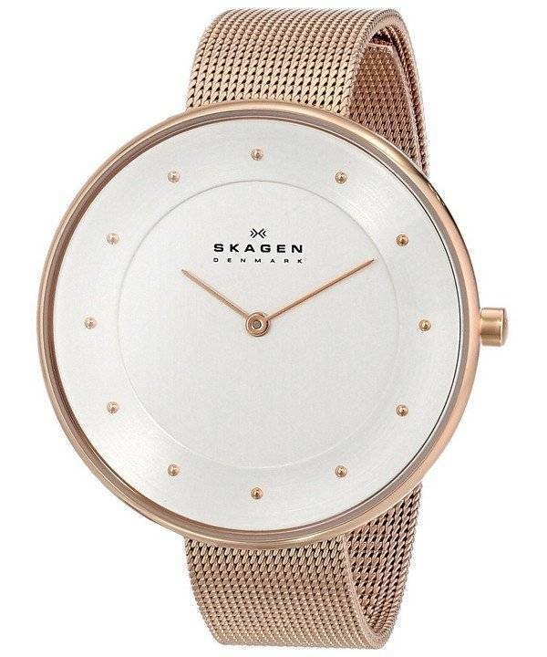 Skagen Silver Dial Rose Gold-Tone Mesh Bracelet SKW2142 Womens Watch