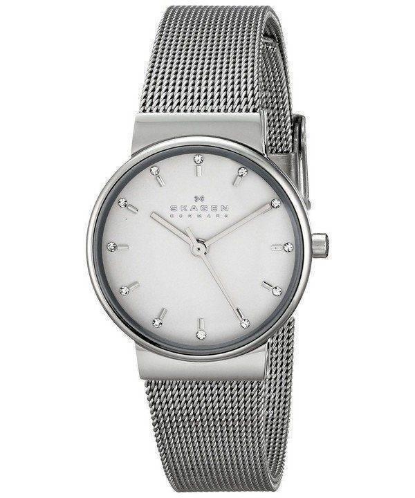 Skagen Ancher Silver Dial Crystal Stainless Steel Mesh Bracelet SKW2195 Womens Watch