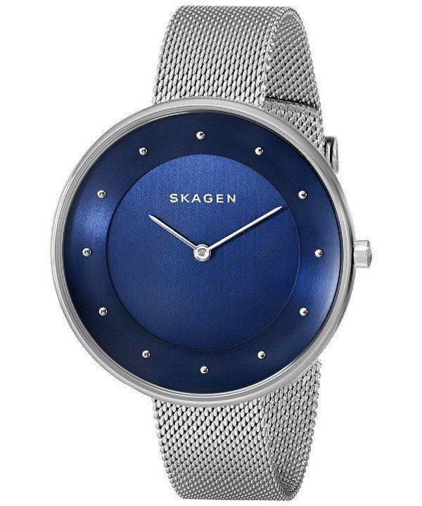 Skagen Gitte Blue Dial Stainless Steel Mesh Bracelet SKW2293 Womens Watch