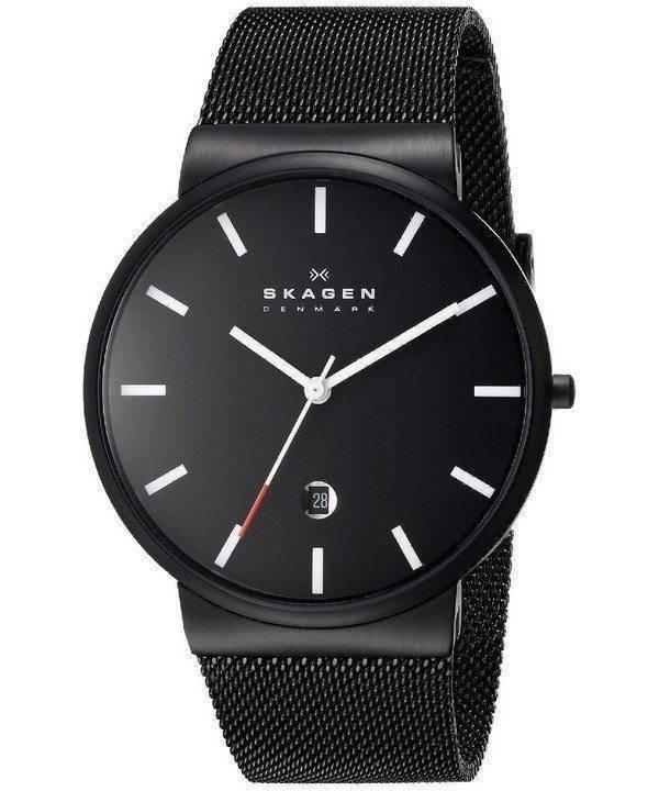Skagen Ancher Black Dial Black PVD Mesh Bracelet SKW6053 Mens Watch