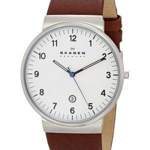 Skagen Ancher Brown Leather Strap SKW6082 Mens Watch