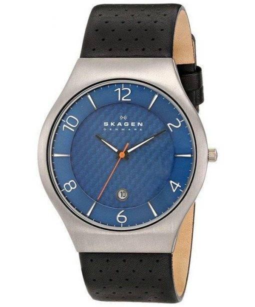Skagen Grenen bleu cadran perforé en cuir noir SKW6148 montre homme