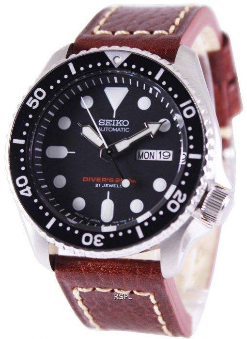 Seiko Automatic Diver's Brown Leather SKX007J1-LS1 200M Mens Watch