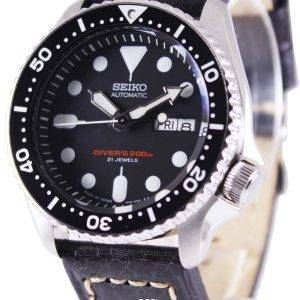 Seiko Automatic Diver's Black Leather SKX007J1-LS2 200M Mens Watch