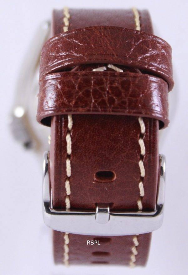 Montre en cuir marron SKX007K1-LS1 200M masculin Seiko automatique montre de plongée