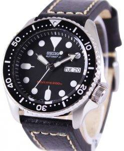 Montre cuir noir SKX007K1-LS2 200M masculin de plongée Seiko automatique