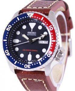 Montre en cuir marron SKX009K1-LS1 200M masculin Seiko automatique montre de plongée