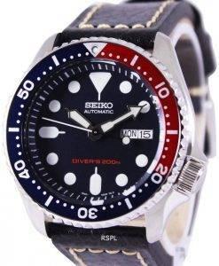 Montre cuir noir SKX009K1-LS2 200M masculin de plongée Seiko automatique