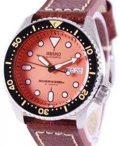 Montre cuir marron SKX011J1-LS1 200M masculin de plongée Seiko automatique