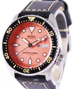 Montre cuir noir SKX011J1-LS2 200M masculin de plongée Seiko automatique