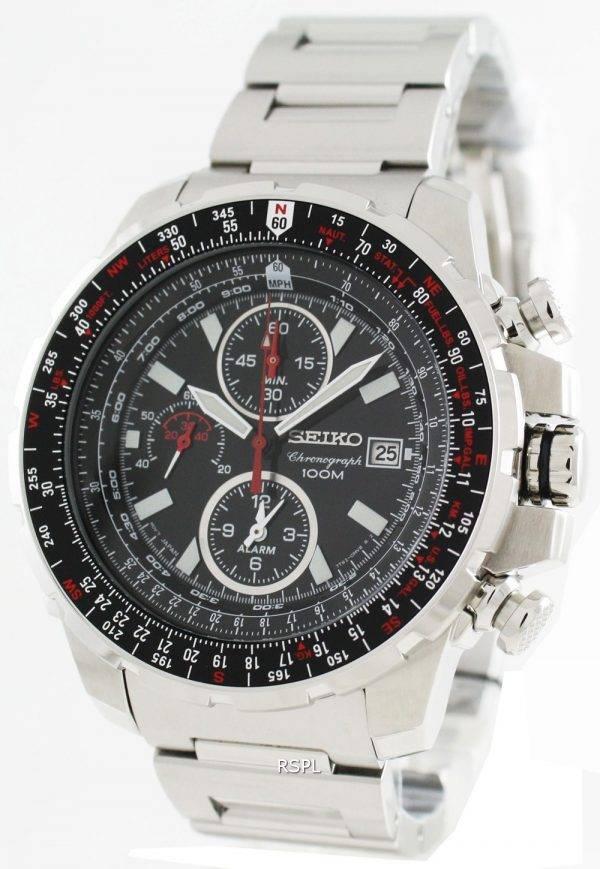 Seiko Alarm Chronograph Flight Master SNAD05P1 SNAD05P SNAD05 Mens Pilot Watch
