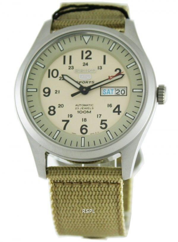 Seiko 5 Sports automatique SNZG07K1 SNZG07 SNZG07K militaire Nylon sangle Mens Watch