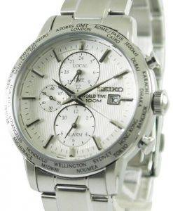 Seiko Alarm Chronograph World Time SPL047P1 SPL047P SPL047 Mens Watch