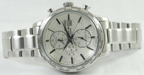 Seiko Alarm Chronograph World Time SPL047P1 SPL047P SPL047 Mens Watch
