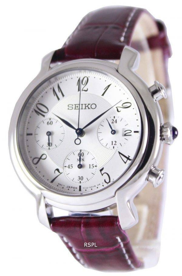Seiko Quartz Chronograph Leather Strap SRW875P2 Women's Watch