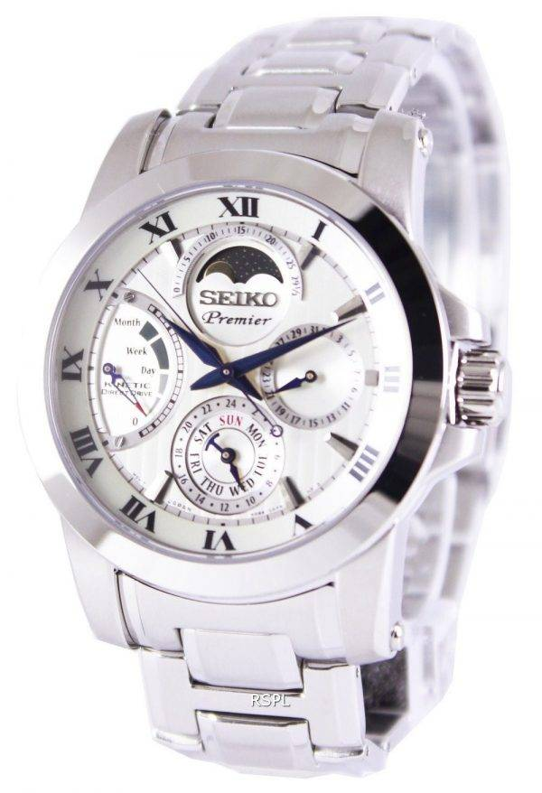 Seiko Premier Kinetic Direct Drive Moon Phase SRX011P1 SRX011P Mens Watch