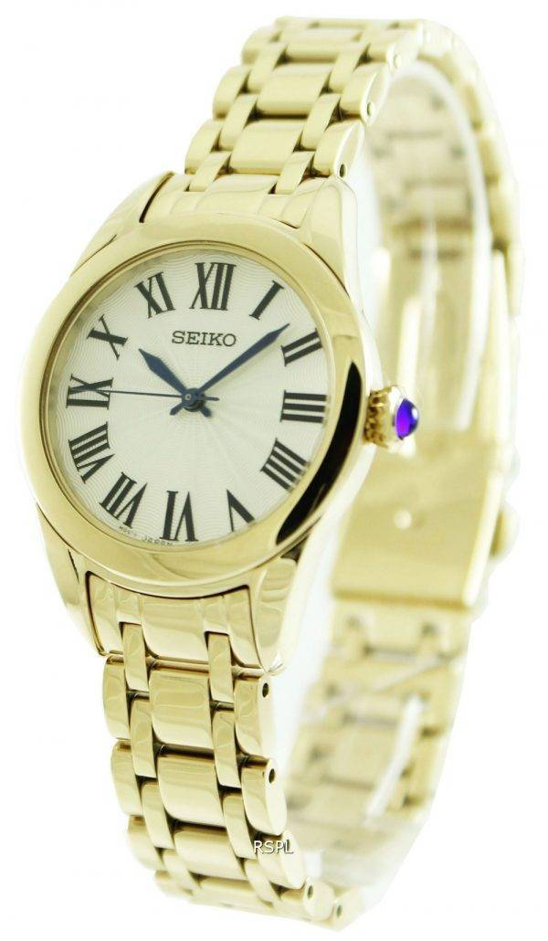 Seiko Gold Tone Quartz SRZ384P Womens Watch