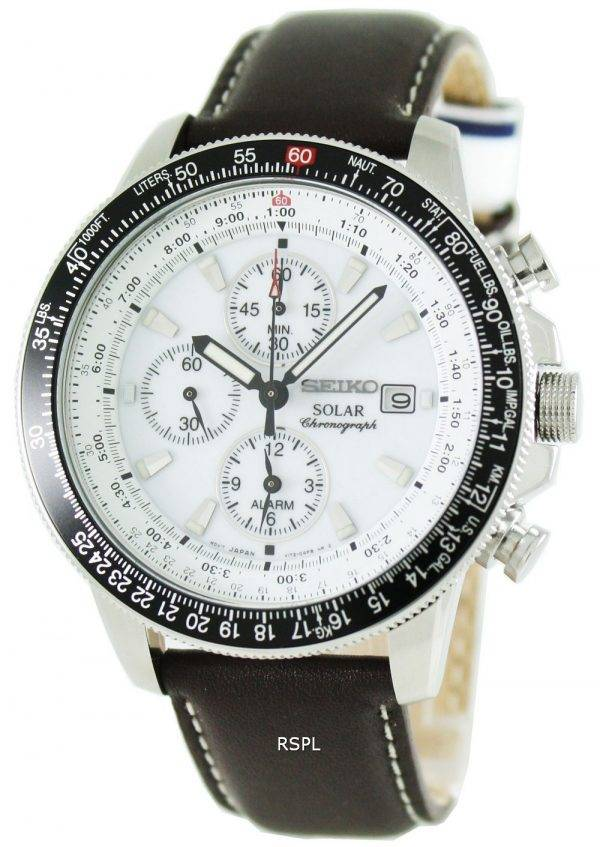 Seiko Pilots Solar Alarm Chronograph Flightmaster SSC013P1 SSC013 SSC013P Mens Watch