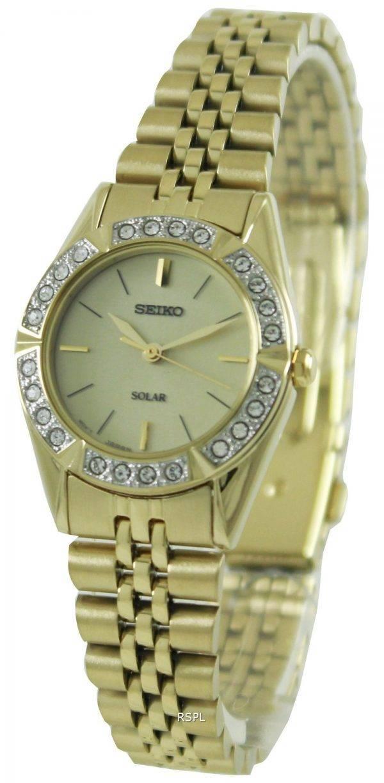 Seiko Solar Gold Tone Swarovski Crystals SUP096P1 SUP096P Womens Watch