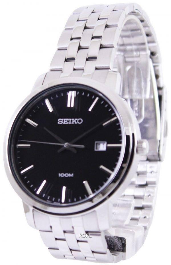 Seiko Quartz Black Dial SUR109P1 SUR109P Mens Watch