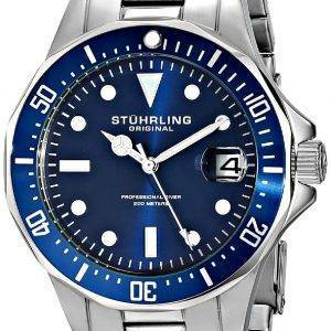 Stührling Original Aquadiver 200M Quartz Watch Date de 664.02 Hommes