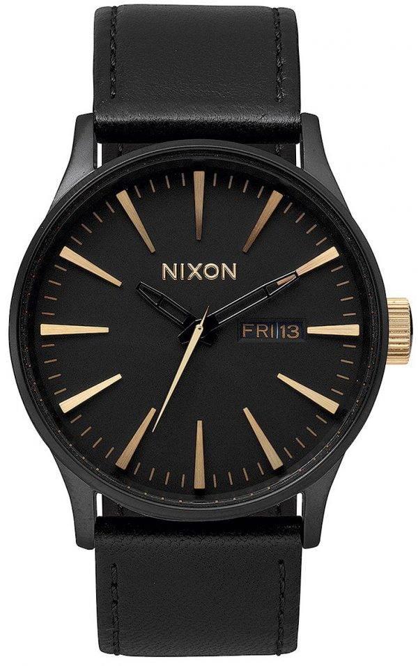 Montre Nixon Quartz Sentry cuir noir A105-1041-00 homme