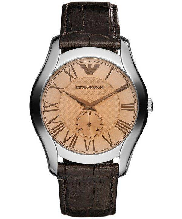 Montre Emporio Armani Classic ambre cuir marron AR1704 hommes cadran